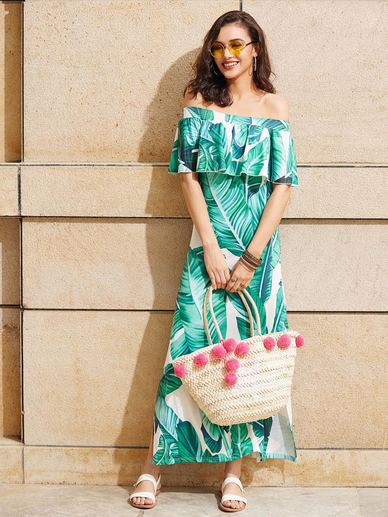 RZX Palm Leaf Print Side Slit Flounce Bardot Dress