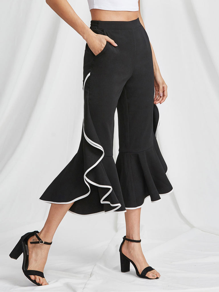 Contrast Binding Ruffle Trim Flared Pants