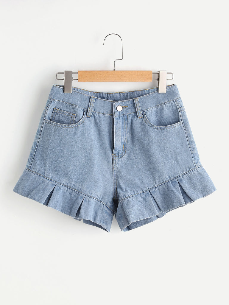 Pleated Ruffle Trim Denim Shorts