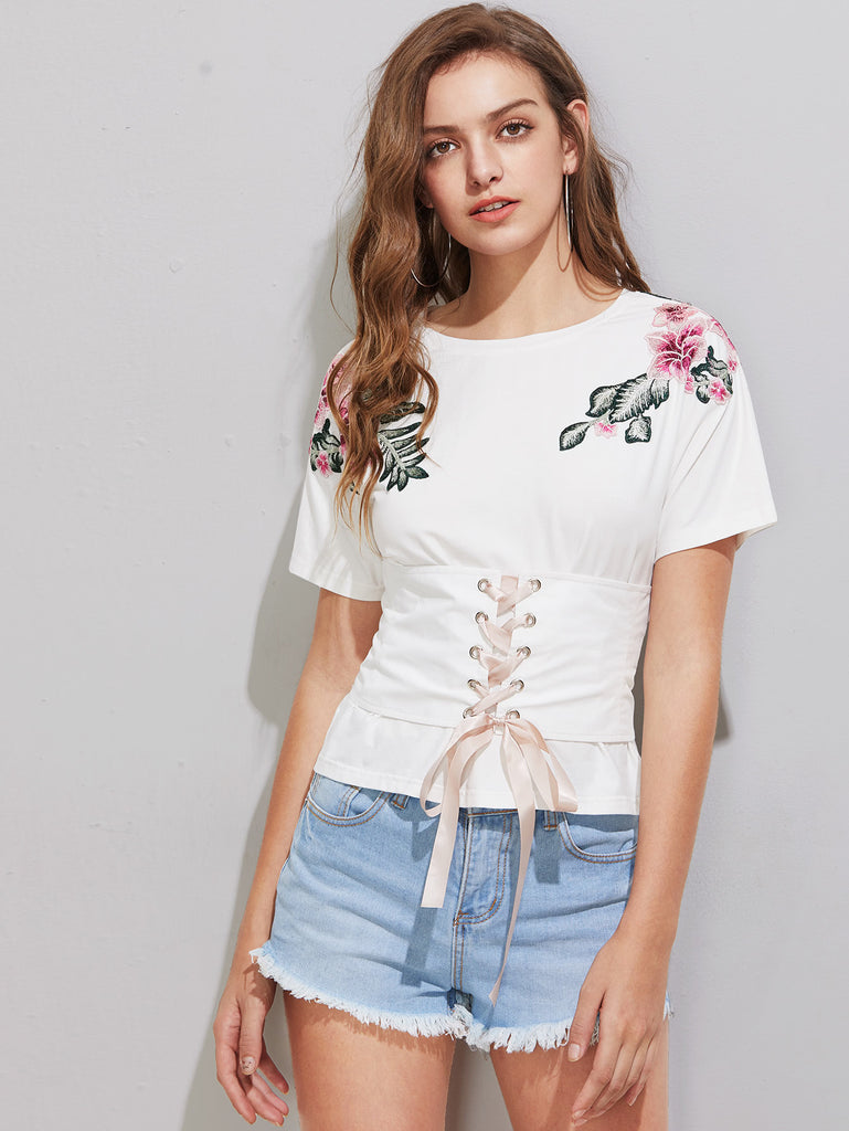 RZX Lace Up Corset Belt Detail Flower Patch T-shirt