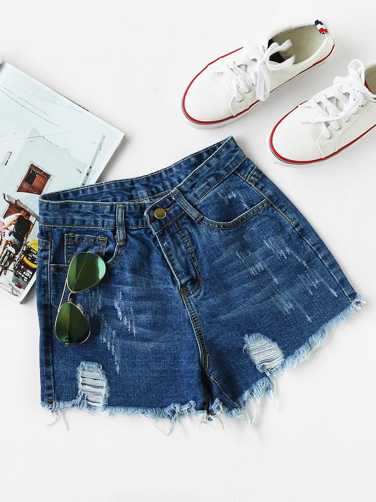 RZX Ripped Frayed Hem Denim Shorts