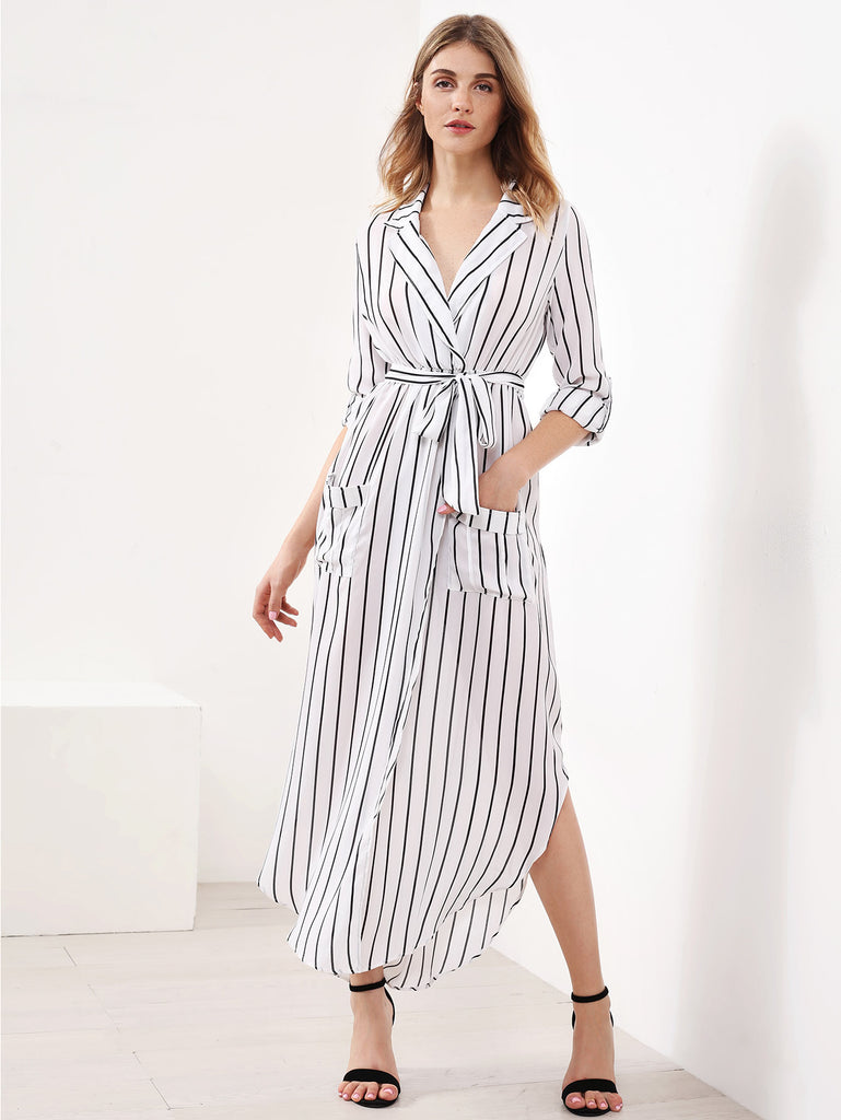 Vertical Striped Slit Side Curved Hem Shirt Dress
