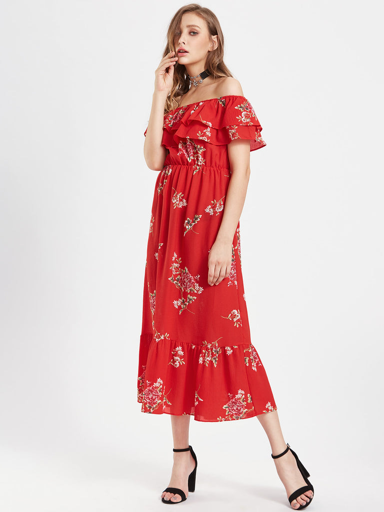 Tiered Frill Layered Calico Print Bardot Dress