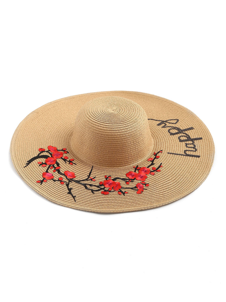Flower Embroidery Wide Brim Straw Hat