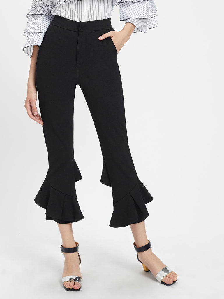 Frill Trim Cropped Pants