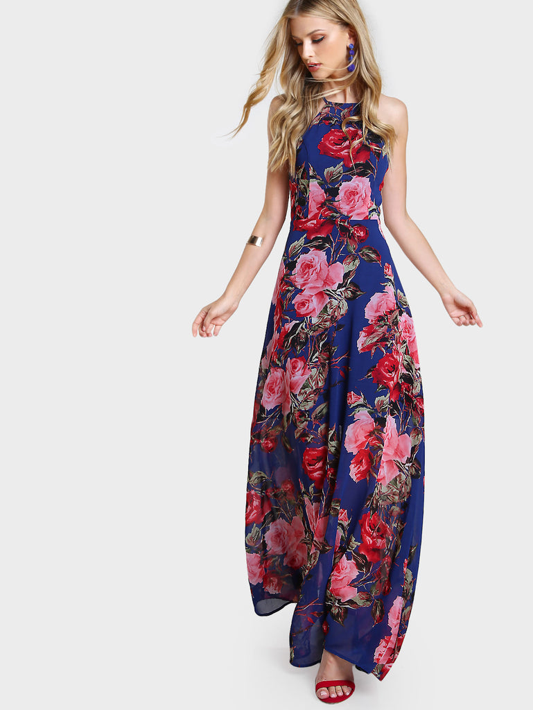 RZX of Flower Print Racer Halter Neck Open Back Maxi Dress