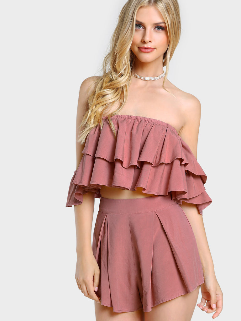 RZX Layered Flounce Bardot Top And Shorts Co-Ord