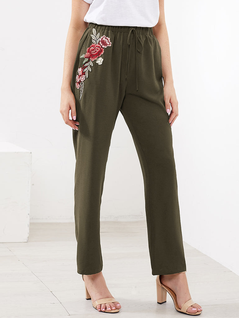RZX Embroidered Flower Applique Pants