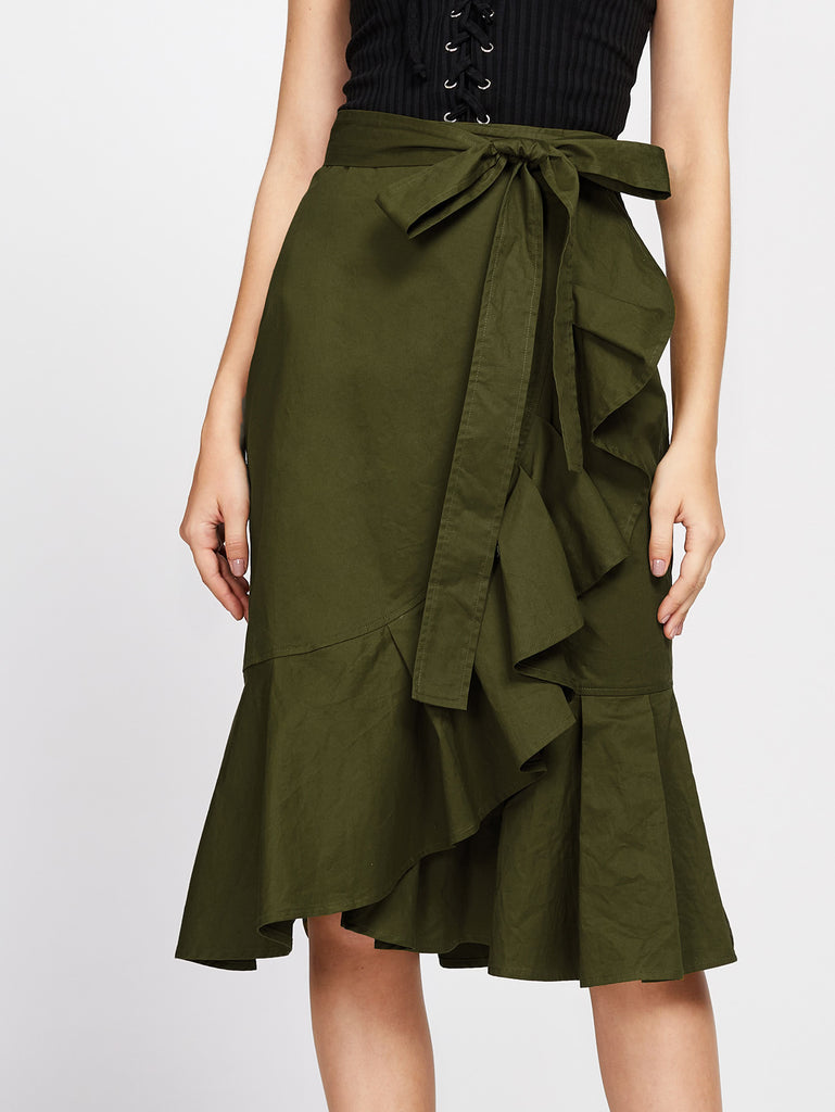 RZX Self Tie Flounce Trim Wrap Skirt