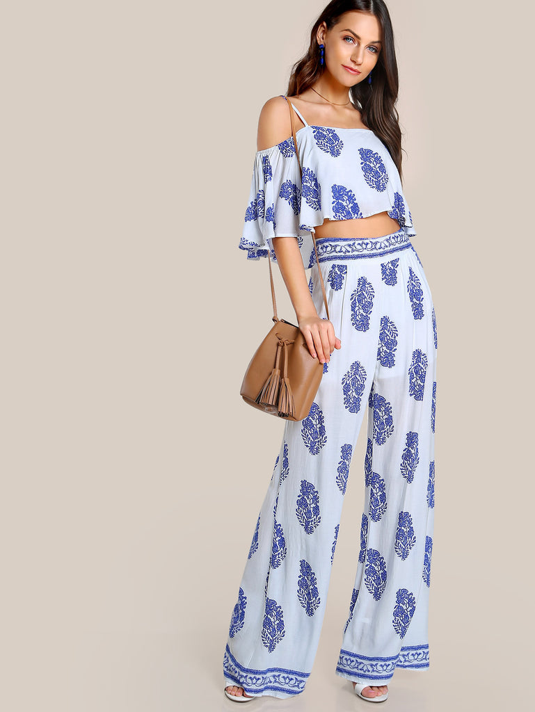 RZX Printed Flounce Cold Shoulder Top And Palazzo Pants Set