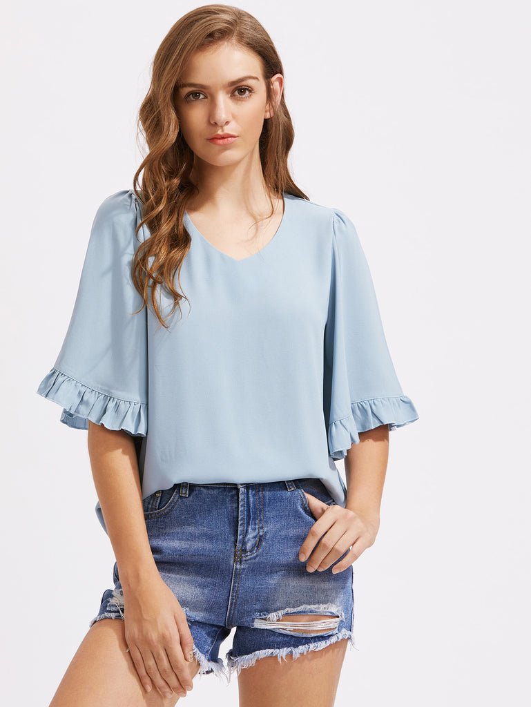RZX Frilled Trumpet Sleeve Top