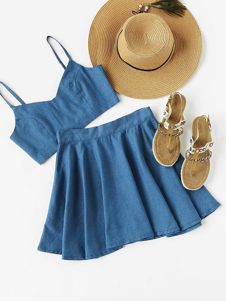 RZX Crop Chambray Cami Top And Skirt Set
