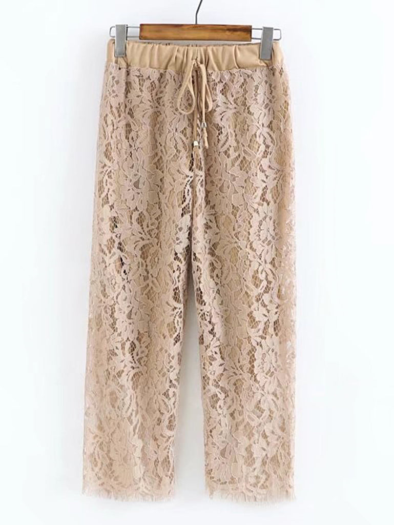 Drawstring Waist Lace Pants