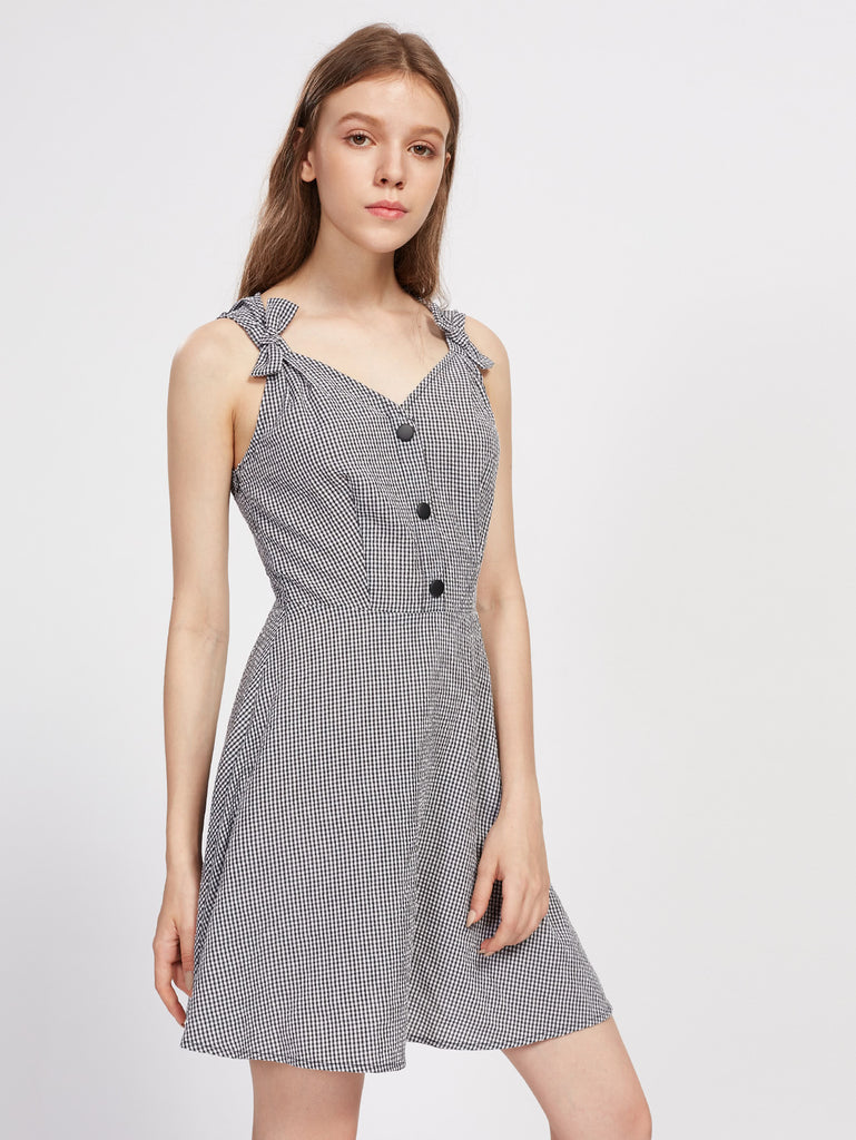RZX  Bow Strap Open Back Gingham Dress