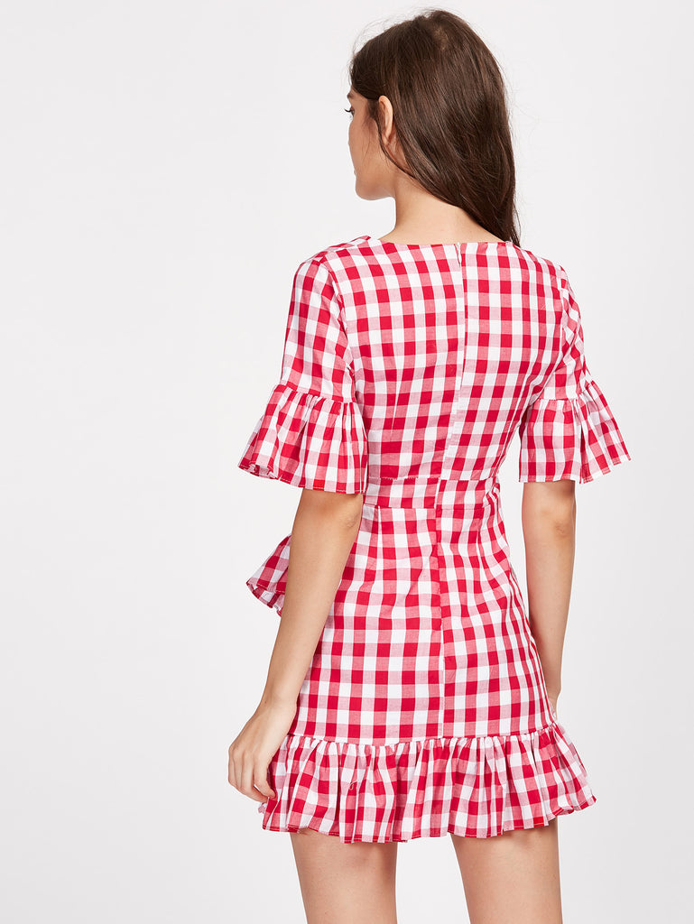 RZX Frill Trim Surplice Wrap Gingham Dress