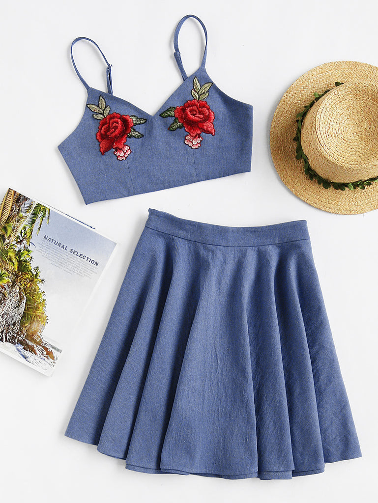 Rose Patch Chambray Cami And Circle Skirt Set