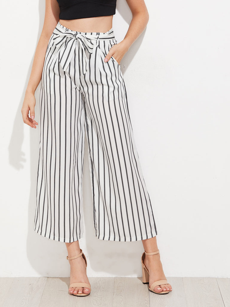 RZX Vertical Striped Self Tie Wide Leg Pants