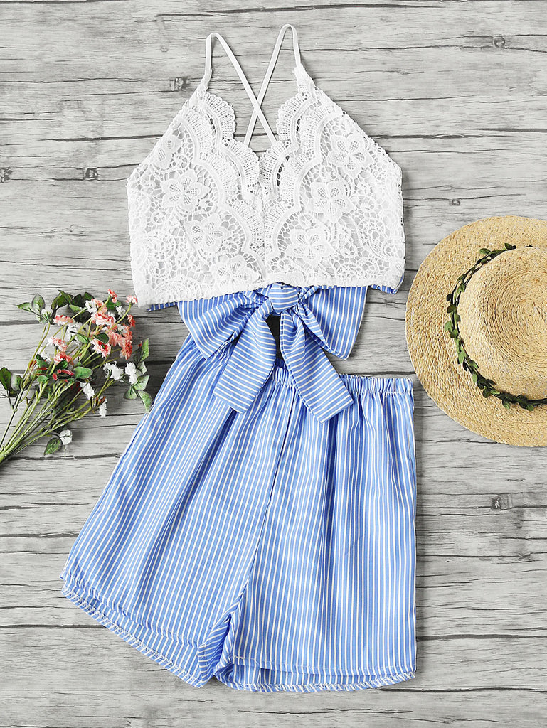 Lace Panel Criss Cross Bow Tie Back Cami Top With Stripe Shorts
