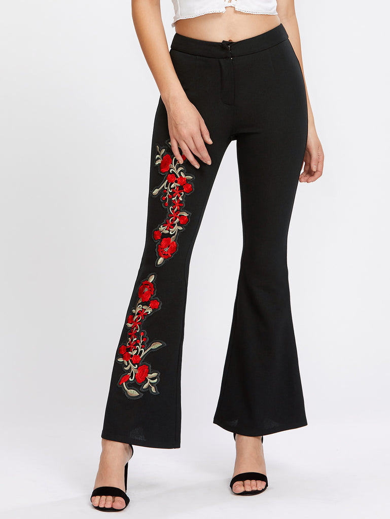Embroidered Flower Applique Flared Pants