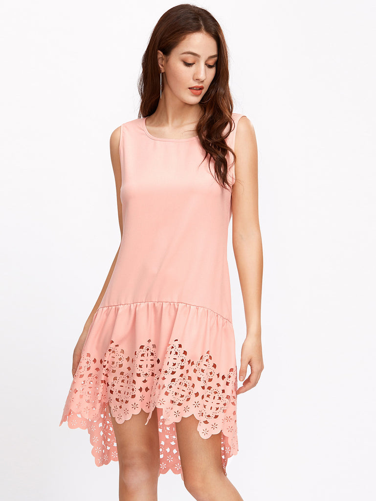 Laser Cut Out Low Rise Tank Dress