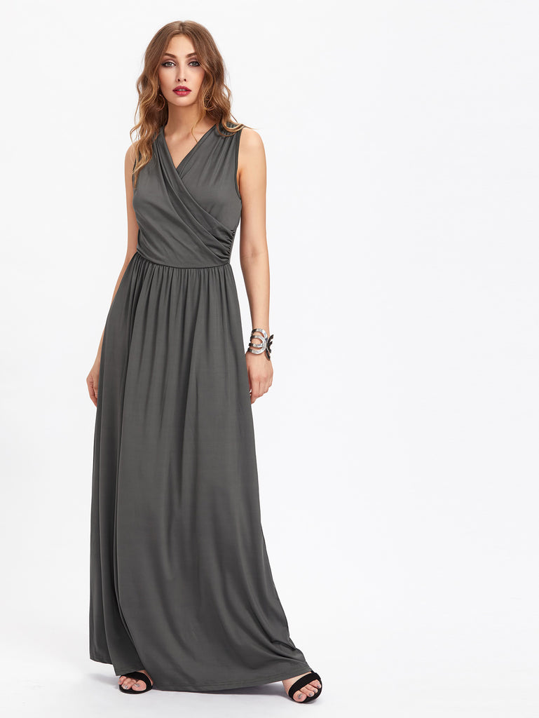 Surplice Neckline Full Length Dress