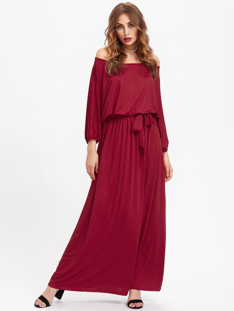 Off Shoulder Self Tie Full Length Dress