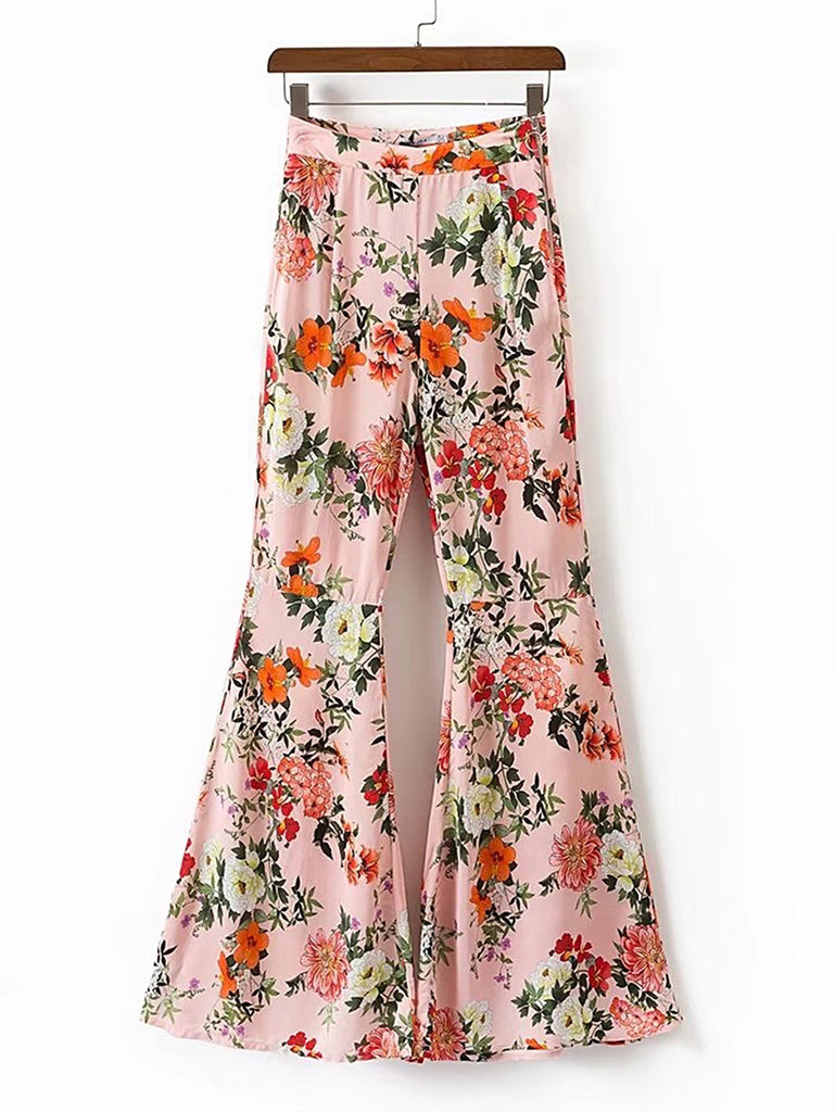 Floral Print Zipper Side Flare Pants