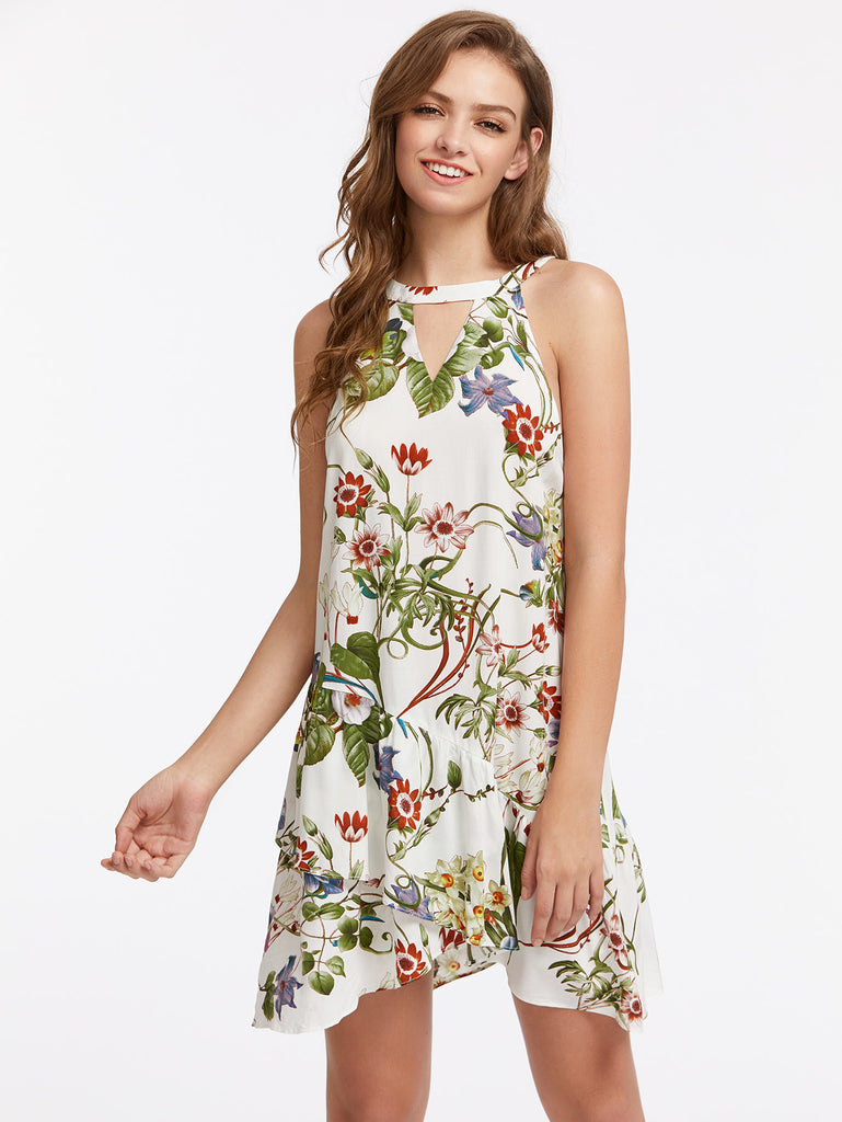 Double Keyhole Halter Asymmetric Tiered Hem Botanical Dress