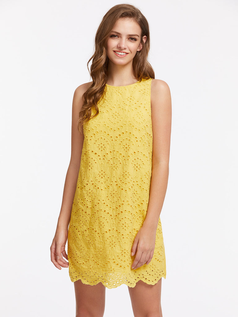 Keyhole Back Scallop Hem Eyelet Overlay Dress
