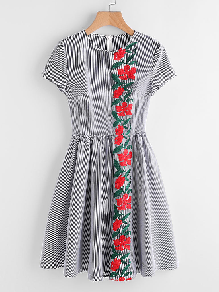 Embroidered Flower Panel Fit And Flare Striped Dress