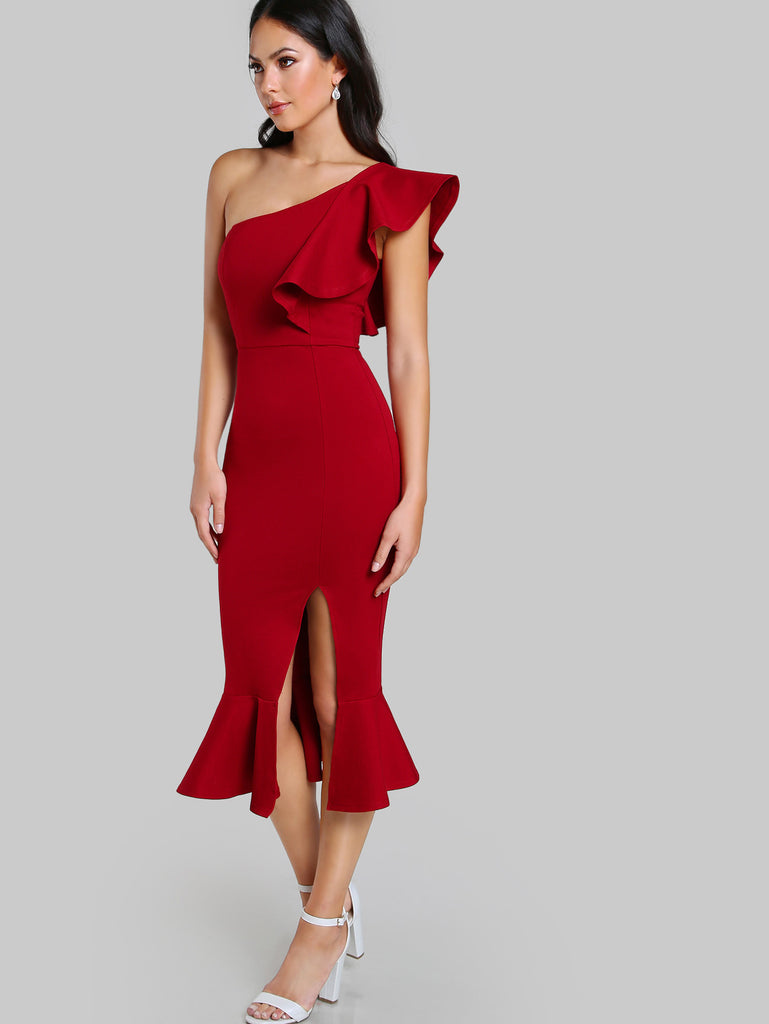 RZX Flounce One Shoulder Slit Fishtail Dress