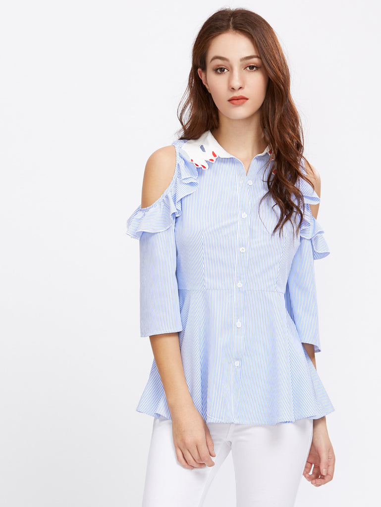 RZX Hand Shape Collar Frill Open Shoulder Fit And Flare Blouse