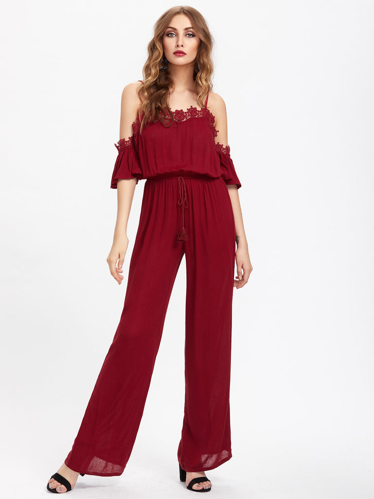 RZX Lace Trim Bell Sleeve Tasseled Waist Jumpsuit