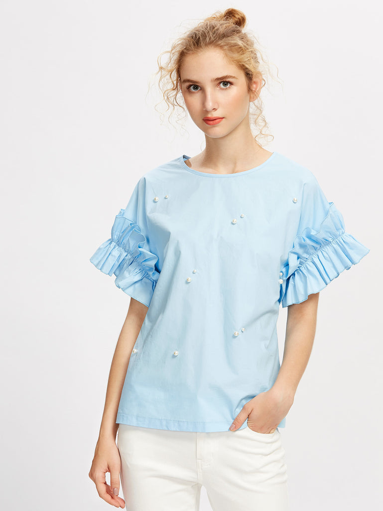RZX Pearl Beading Shirred Frill Sleeve Top