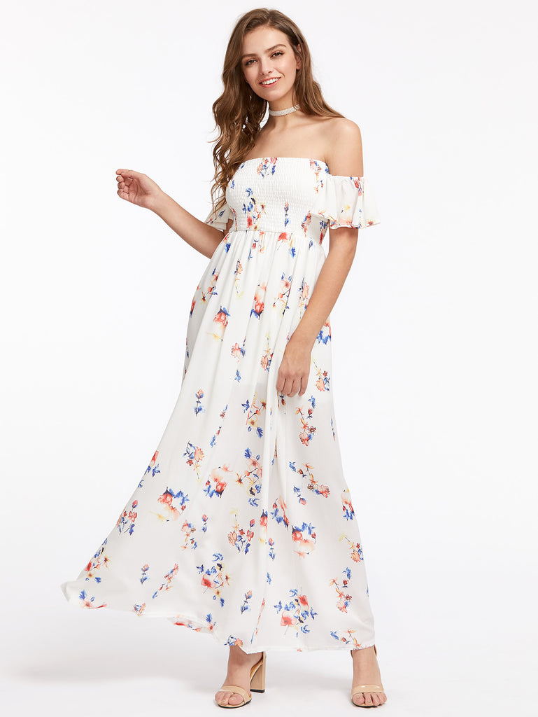 Allover Florals Shirred Bardot Dress