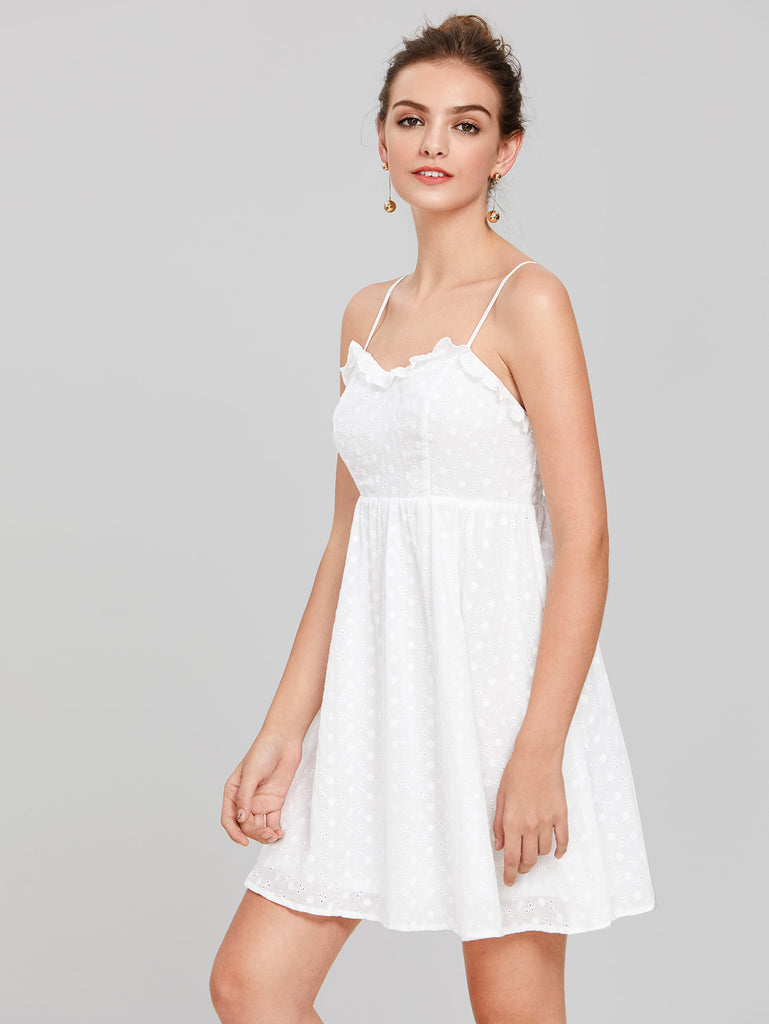 RZX Frill Detail Eyelet Embroidered Cami Dress