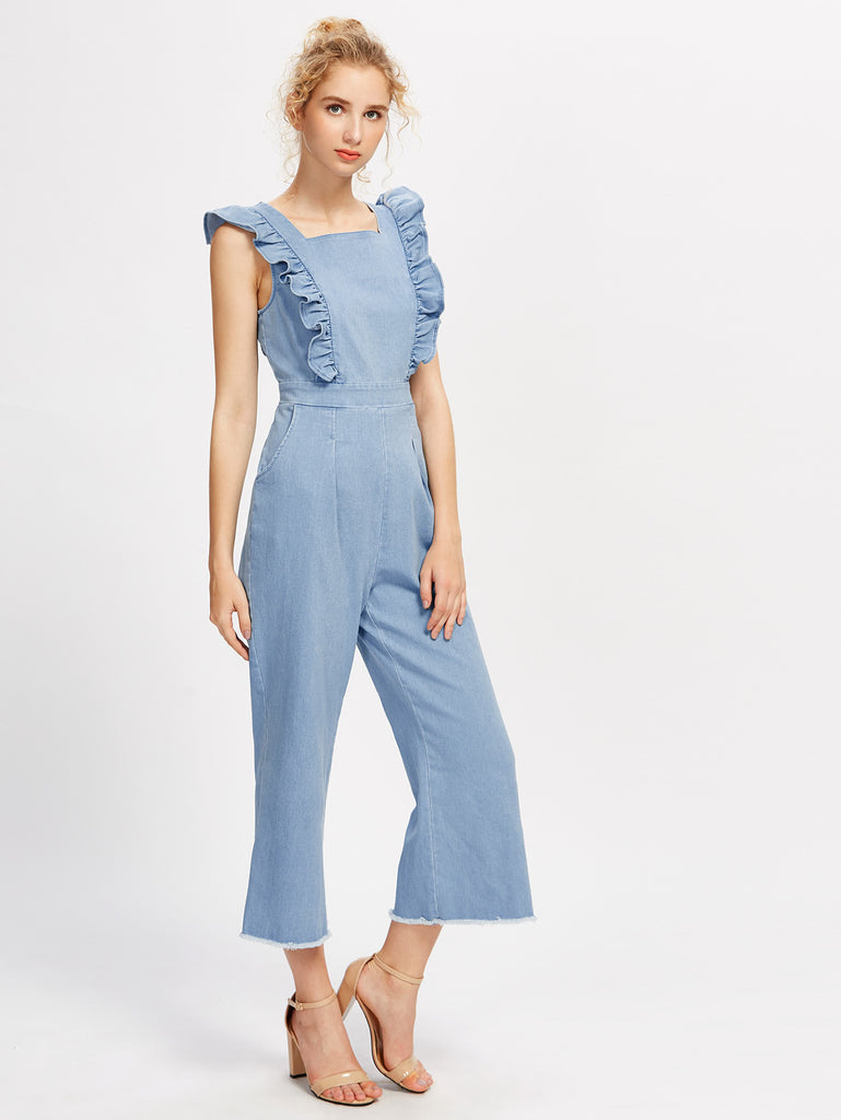 Frill Detail Frayed Hem Chambray Pinafore Jumpsuit