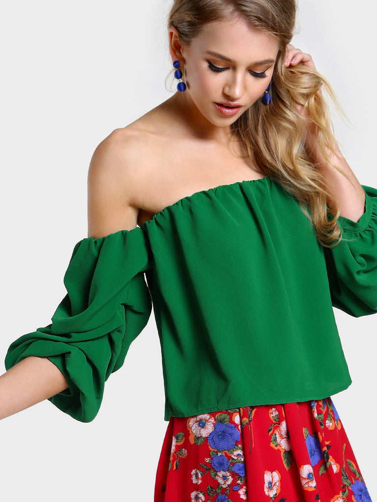 RZX Ruched Sleeve Off Shoulder Top