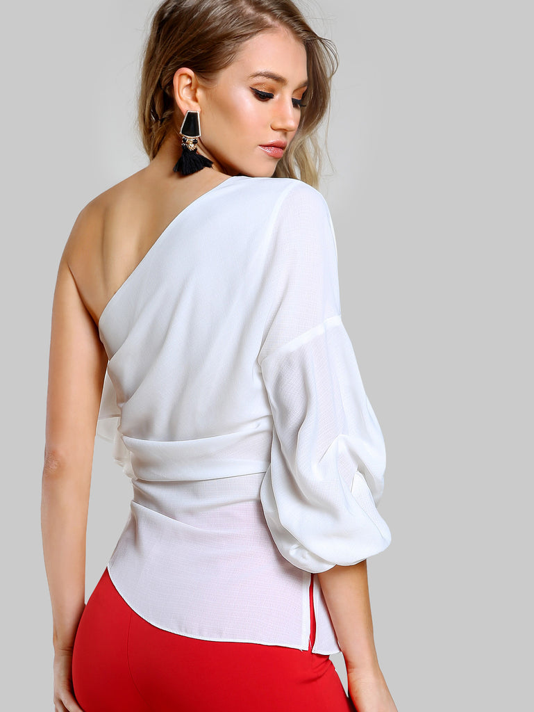 RZX One Shoulder Gathered Sleeve Top