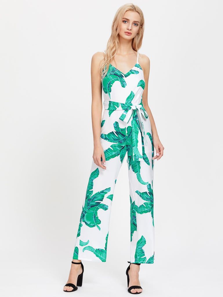 RZX Palm Leaf Print Self Tie Cami Jumpsuit