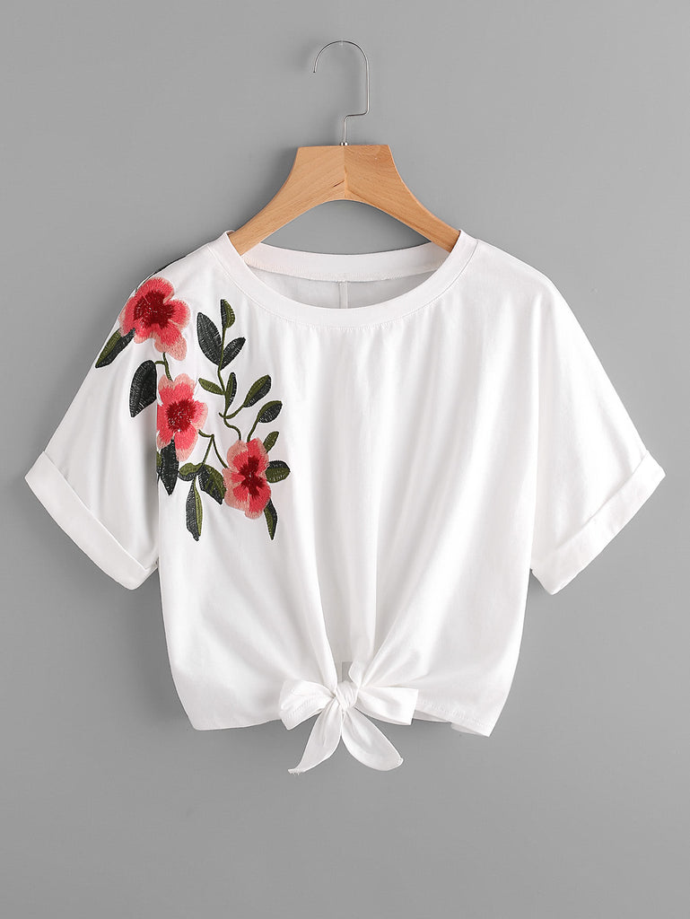 Knot Front Cuffed Embroidered Tee