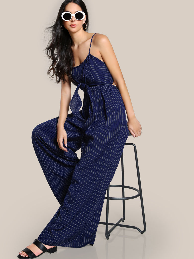 Tie Front Shirred Back Pinstripe Jumpsuit