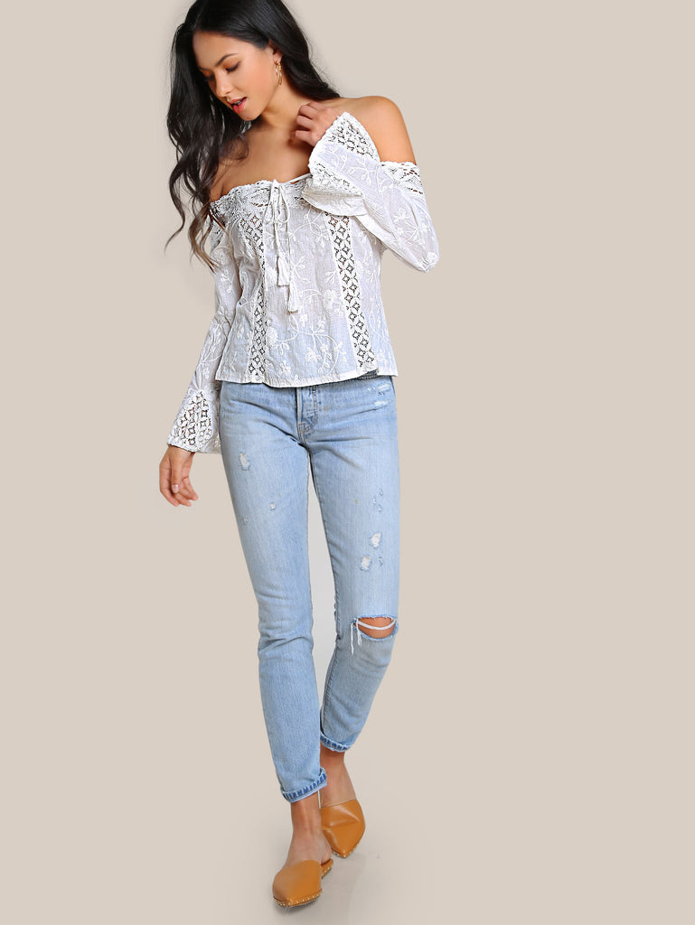 RZX Tassel Tie Lace Panel Embroidered Bardot Top