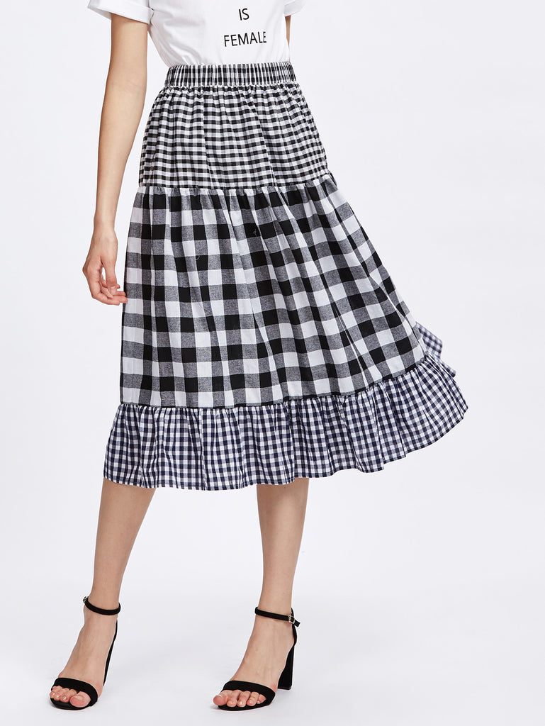 Tiered Mixed Gingham Skirt