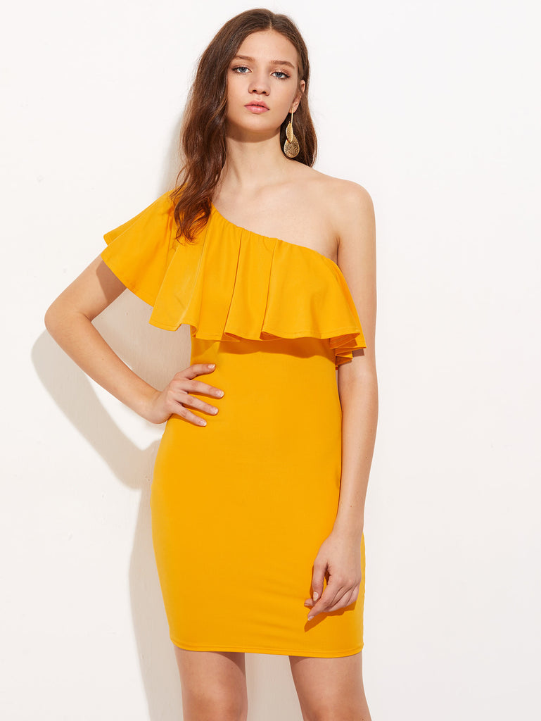 Oblique Shoulder Flounce Layered Bodycon Dress