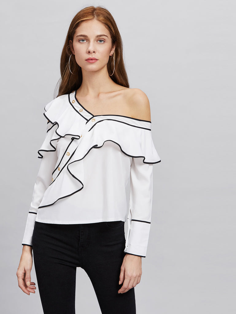 RZX Contrast Trim Asymmetric Cold Shoulder Exaggerated Frill Blouse