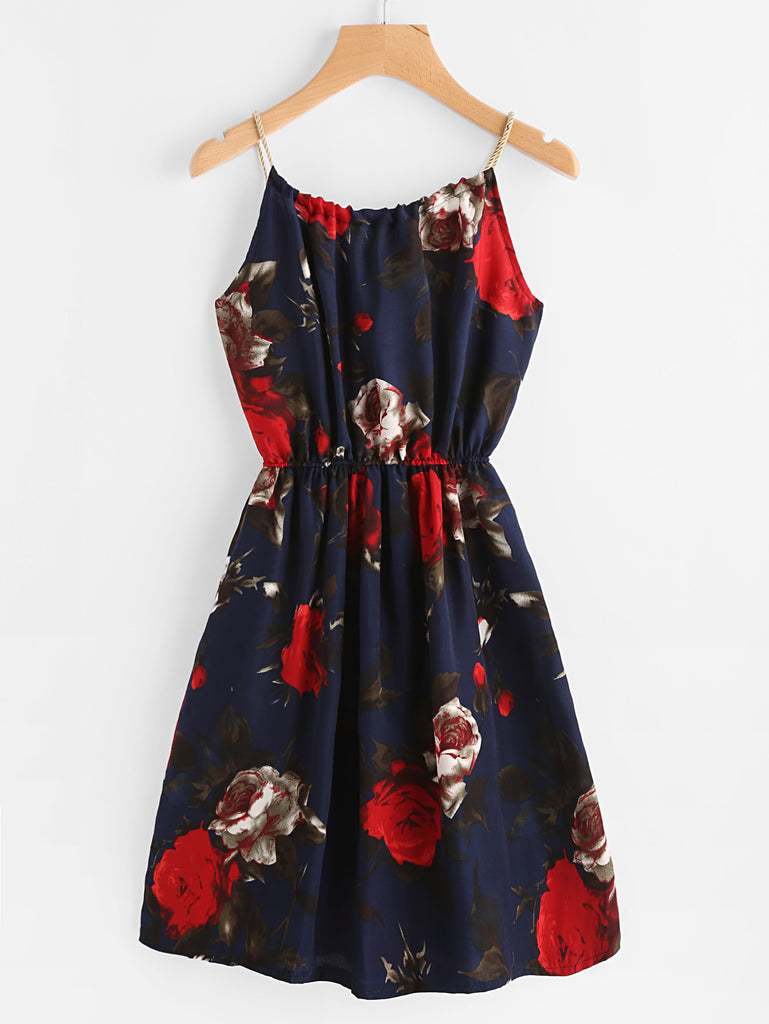RZX Floral Print Random Self Tie Cami Dress