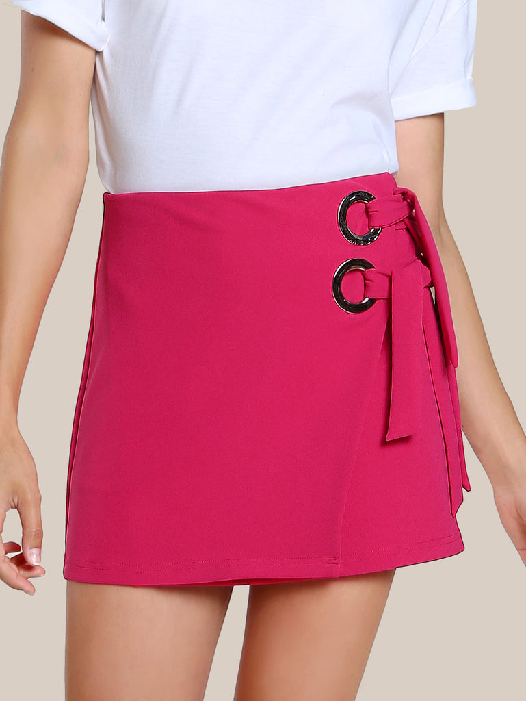 O-Ring Detail Self Tie Wrap Skirt