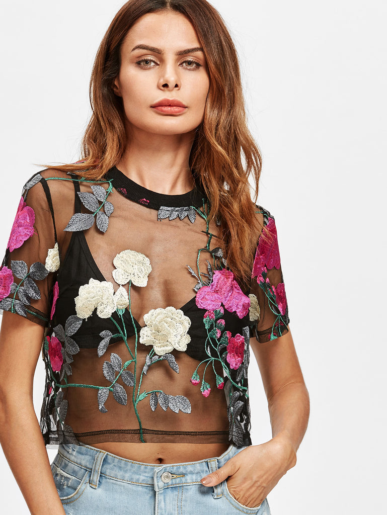 RZX Flower Embroidered Mesh Top