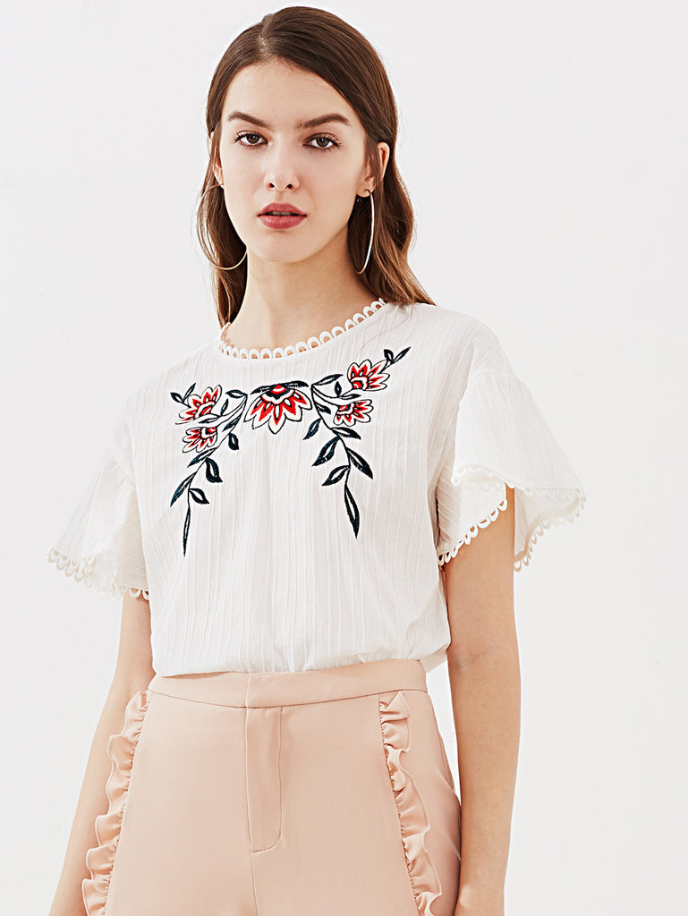 RZX Lace Trim Keyhole Back Flower Embroidered Textured Top